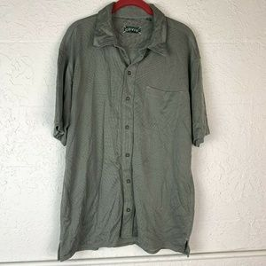 Orvis Button Up Shirt Mens L Olive Green Tencel